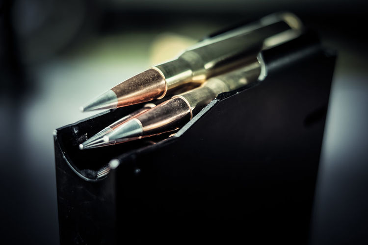 Close-up of bullets in magazine