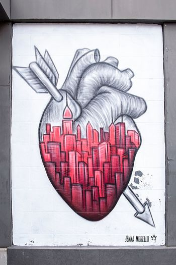 Heart Graffiti NYC Street Photography Heart Heart Shape Red Art And Craft Creativity Love Emotion Paper Graffiti Text Positive Emotion Close-up Western Script Drawing - Art Product Sketch