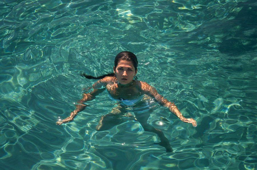 Kreta Greece Europe Summer Aegeansea Woman Me Inwater Sea Bluewater
