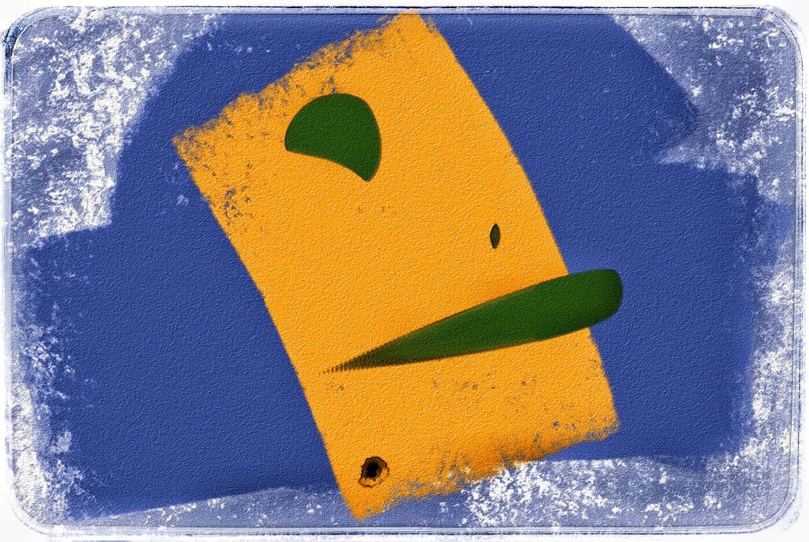 close-up, yellow, symbol, paint, road sign, directional sign, art, blue, no people, alphabet, day, outdoors, multi colored, full frame