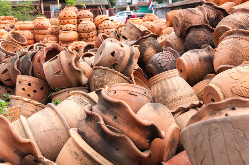 Close-Up Of Earthenware For Sale At Market Stall