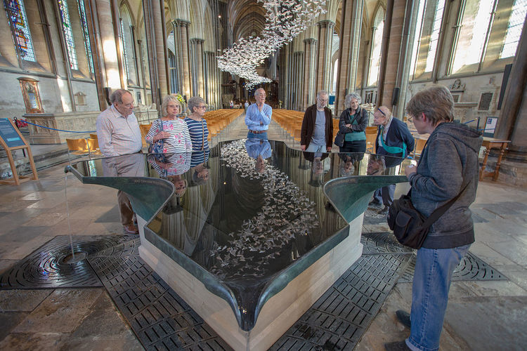 Reflections - The reflection of Les Colombes in Salisbury Cathedral Font Cathedral Early English Gothic Architecture Les Colombes Salisbury Cathedral  Salisbury Cathedral Font Architecture Indoors  Reflections In The Water