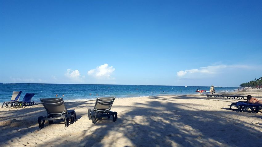 Sea Beach Blue Chair Water Sand Clear Sky Tranquility Sky Summer No People Outdoors Horizon Over Water Travel Destinations Tranquil Scene Nature Day Vacations Scenics Beauty In Nature