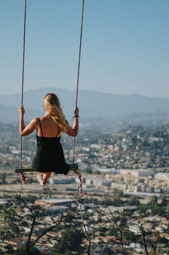 Blonde Swinging View Above The City Above The Trees Blonde Hair Blonde Hair Girl Girl High Angle View Swing Vintage Photo The Traveler - 2018 EyeEm Awards The Traveler - 2018 EyeEm Awards