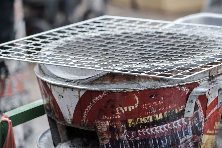 Close-up of metallic structure in market
