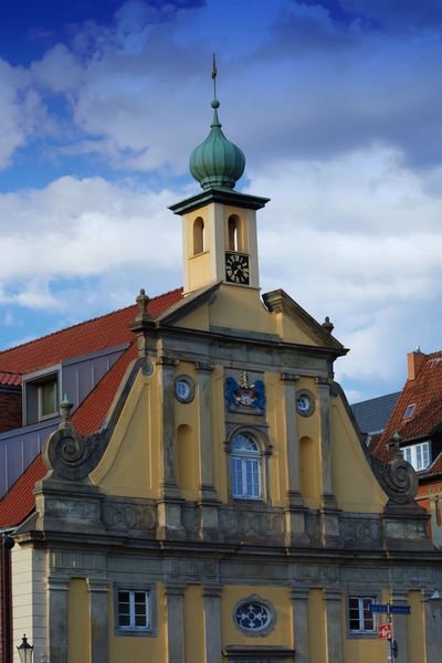 Facade of an old house in the historic old town in the center of Lüneburg Building Exterior Architecture Built Structure Sky Cloud - Sky Building Low Angle View No People Religion Nature Belief Place Of Worship Spirituality The Past Day History Outdoors Travel Destinations Spire