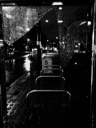 Shattered glass Rain Photos No People Outdoors Night Blackandwhite Phone Photography Rainy Season Liked lights play