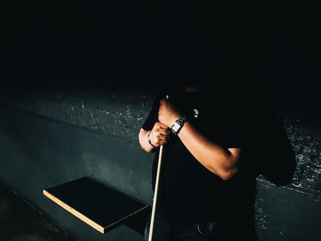 Shadow covering a pool player. One Person Night Music Dark Indoors  Men Human Hand Technology Musical Instrument Performance One Man Only People Pool Gambling IPhoneography Sports Billiards Silhouette Alone IPhone