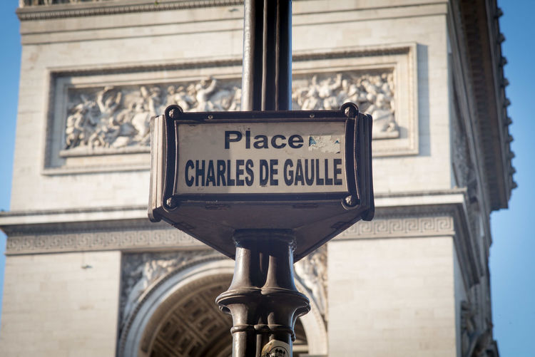 Arc De Triomphe Architecture Charles De Gaulle City Close-up French Low Angle View Monument Outdoors Paris Paris, France  Place Place Charles De Gaulle Road Sign Text