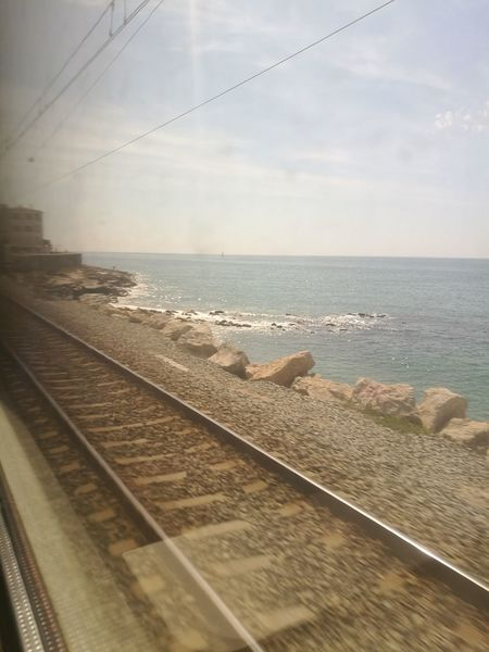 Sea Railroad Track Water Horizon Over Water Nature No People Scenics Day Summer Summertime Summer Views Dirty Window Traveling SPAIN Motion Blur Motion Train Train Tracks Train Live For The Story