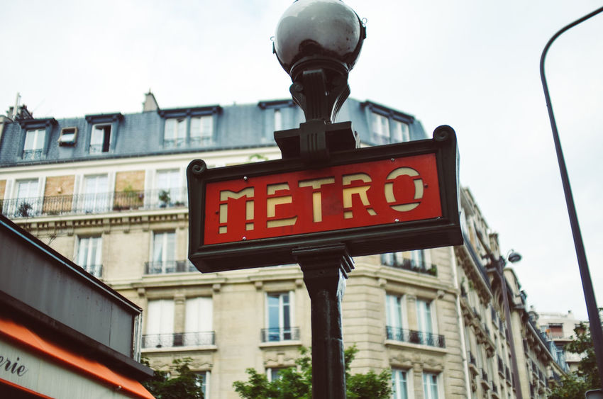 Metro Station City City Life Metro Paris Stairs Architecture Building Exterior Built Structure City Clear Sky Close-up Communication Day Low Angle View Metro Sign Metro Station No People Outdoors Red Sky Street Subway Subway Sign Subway Station Text