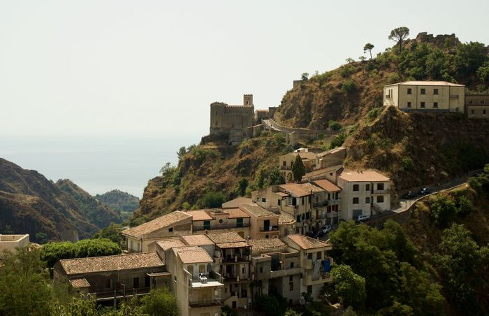 Church Sicilia Sicily Architecture Building Exterior Clear Sky House Italy Mountain Nature Outdoors Savoca Sea Travel Destinations Tree Village An Eye For Travel