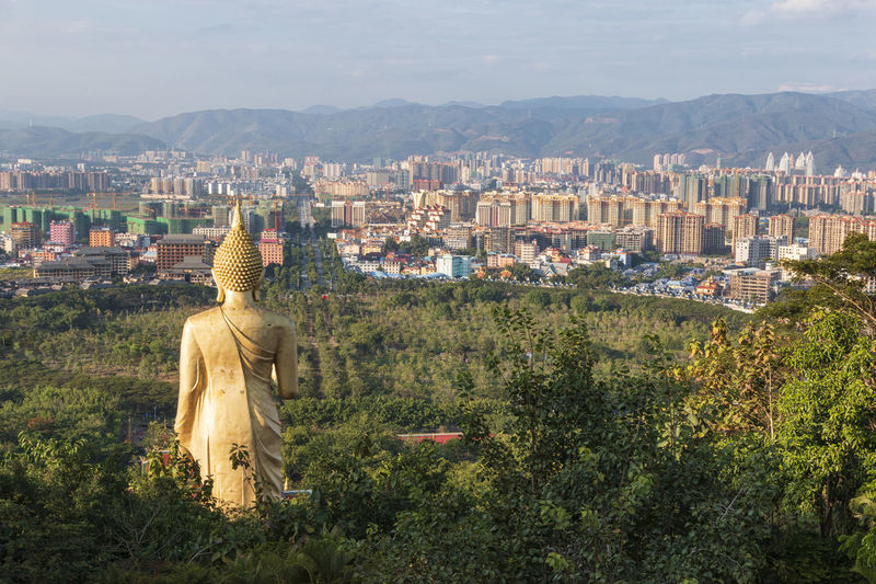 Statue amidst trees and buildings in city against sky
