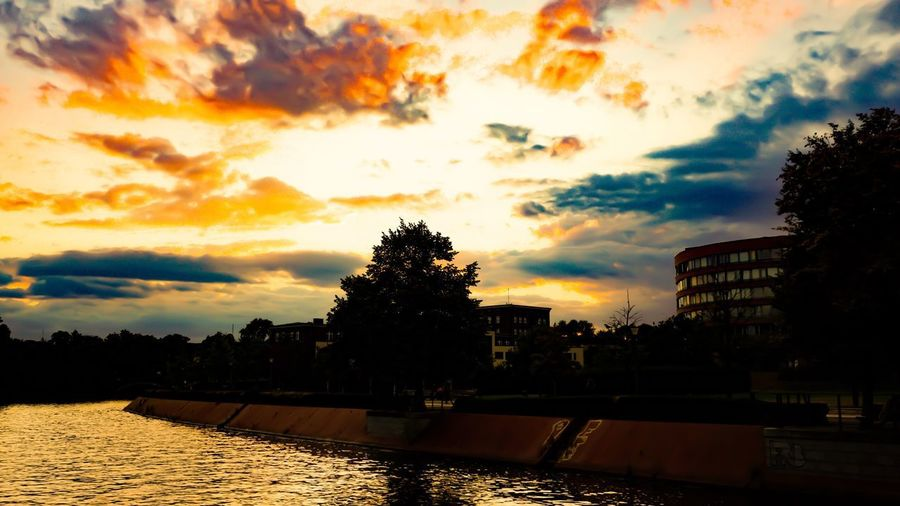 A midsummer night in Berlin...✨ Berlin Photography Berliner Ansichten Berlin Sky Cloud - Sky Sunset Tree Water Silhouette Nature Plant Architecture Reflection Scenics - Nature Beauty In Nature No People Built Structure Building Exterior Orange Color Tranquility Lake Outdoors