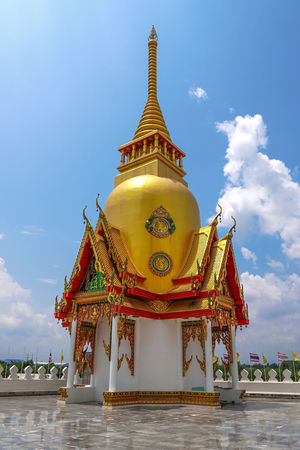 Wat Phrong-Akat (The buddhist temple in Chachoengsao district, Thailand) Thailand Chachoengsao Beauty Gold Place Of Worship Statue Arts Culture And Entertainment Gold Colored Ancient Religion Adulation Fashion Praying Pagoda