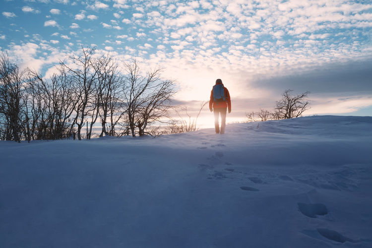 Rear view of man on snow covered field against sky