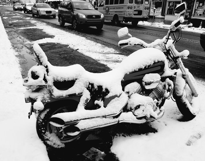 Yearning for Better Weather... Snow Winter Weather Monochrome Monochromatic Blackandwhite Motorbike City Road Car Parking Land Vehicle City Street Vehicle Motorcycle