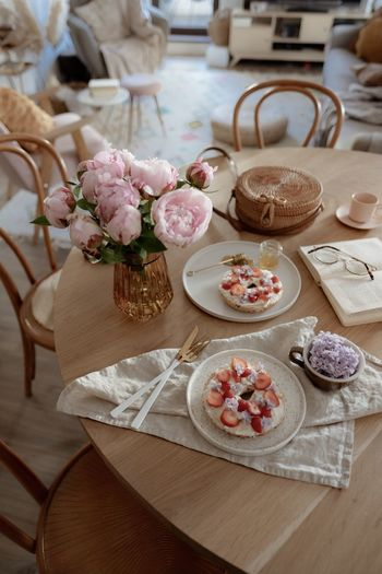 High angle view of roses on table