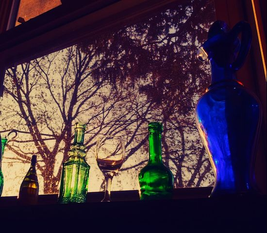 Bottle Indoors  Food And Drink Silhouette Day Window Sill Old Jars Window View Check This Out Picturejunkie Pretty♡ Tree Indoors  Perspectives On Nature Blue Green