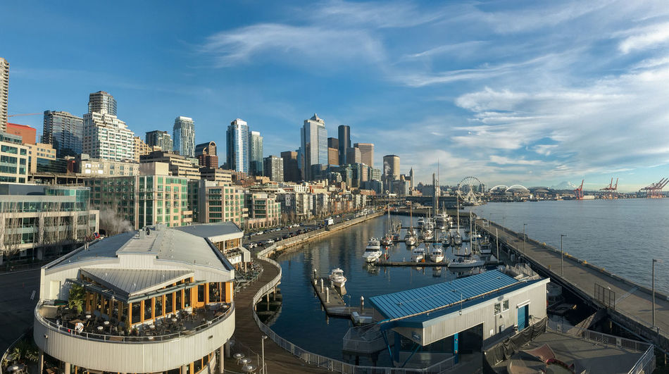 Panorama Seattle waterfront at mid day aerial view with distant mount Rainier in color. Elliott Bay Growth Marina Seattle View Architecture Building Exterior Built Structure City Cityscape Cloud - Sky Condominium Day Housing Modern No People Outdoors Panorma Population Real Estate Sky Skyscraper Urban Skyline Water Waterfront