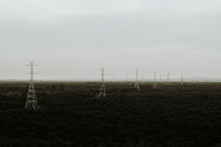 Field Landscape Technology Sky Environment Land Electricity Pylon Electricity  Fuel And Power Generation Nature Power Line  Rural Scene No People Cable Agriculture Power Supply Beauty In Nature Tranquil Scene Tranquility Outdoors
