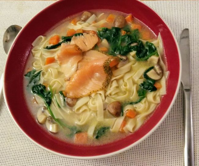 Salmondish Food And Drink Indoors  Food Soup Ready-to-eat Bowl Healthy Eating Freshness Close-up Plate