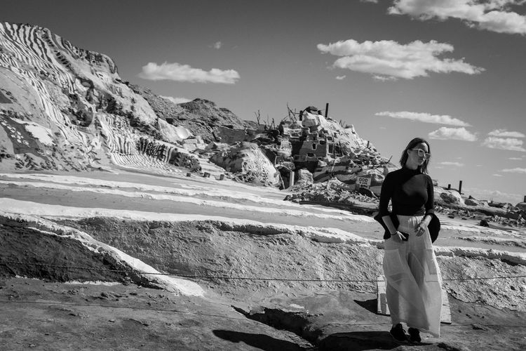 Salvation Mountain Beauty Fujifilm_xseries Fujix100f Documentary Fujifilm Streetphotography Blackandwhite Black And White Photo444 Sky Real People Cloud - Sky Nature Leisure Activity Women Day Full Length Mountain