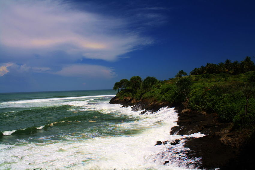 Beautiful Beach in Karapyak Pangandaran Beauty In Nature Day Horizon Over Water Nature No People Outdoors Scenery Scenics Sea Sky Tranquility Water Wave