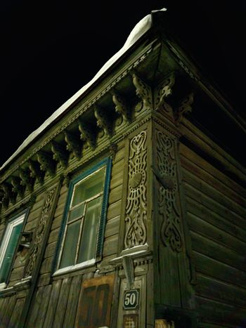 Architecture Building Exterior Built Structure Carving Carving - Craft Product Day Design Ethnic Folk Craft Low Angle View Night Nightphotography No People Number Old Buildings Old-fashioned Outdoors Pediment Russian Style Sky Window Winter Wintertime Wooden Wooden House