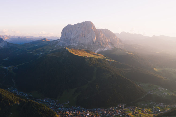 Setting sunlight hits one of the many peaks in the beautiful Dolomites, Italy. Dolomites Drone  Val Gardena Beauty In Nature Day Dji Environment Formation Geology Idyllic Italy Landscape Mavic Pro 2 Mountain Mountain Peak Mountain Range Nature Outdoors Physical Geography Rock Rock - Object Scenics - Nature Sky Tranquility Week On Eyeem A New Beginning A New Perspective On Life