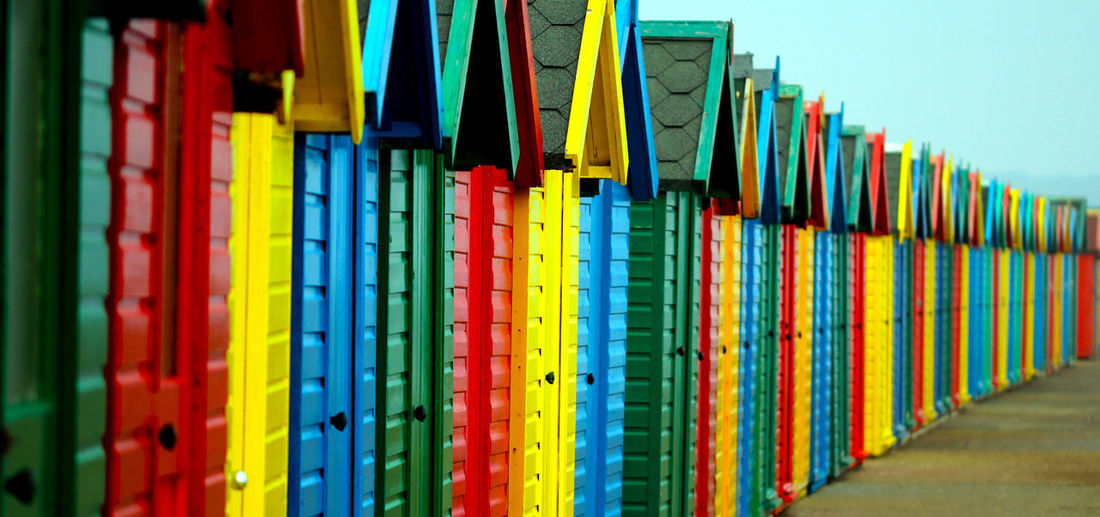 Bright Colors Green Color Red Beach Beach Huts Blue Close-up Colorful Day Green Color In A Row Multi Colored No People Outdoors Variation Yellow