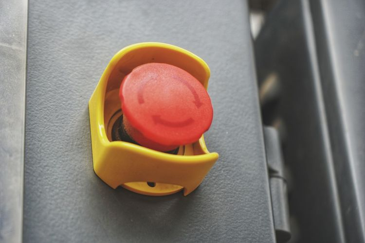 Push Button Emergency Stop Yellow Red Close-up