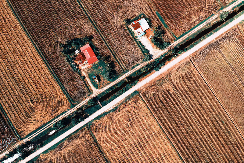 High Angle View Aerial View Landscape Day Nature Environment Industry Transportation Agriculture No People Machinery Outdoors Land Field Rural Scene Motion Farm Fuel And Power Generation Growth Tilt