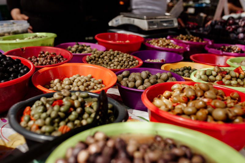 Food Food And Drink Freshness Healthy Eating Wellbeing Still Life No People Choice Large Group Of Objects High Angle View Selective Focus For Sale Colorful Market Market Stall Alentejo Portugal Mediterranean Food Olives Olives & Olives Snack Colors