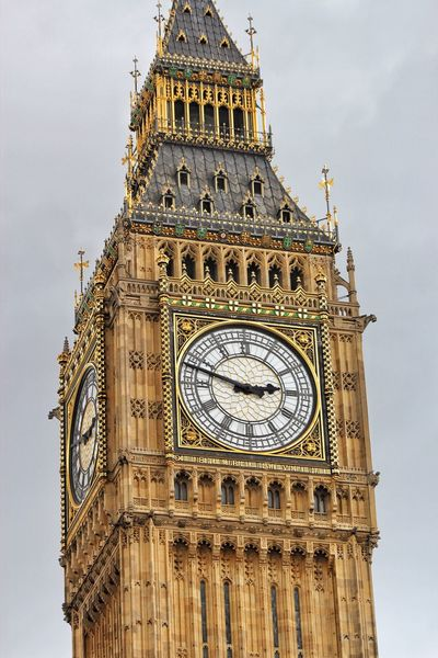 Low Angle View Clock Tower Architecture Building Exterior Clock Time Clock Face London Big Ben