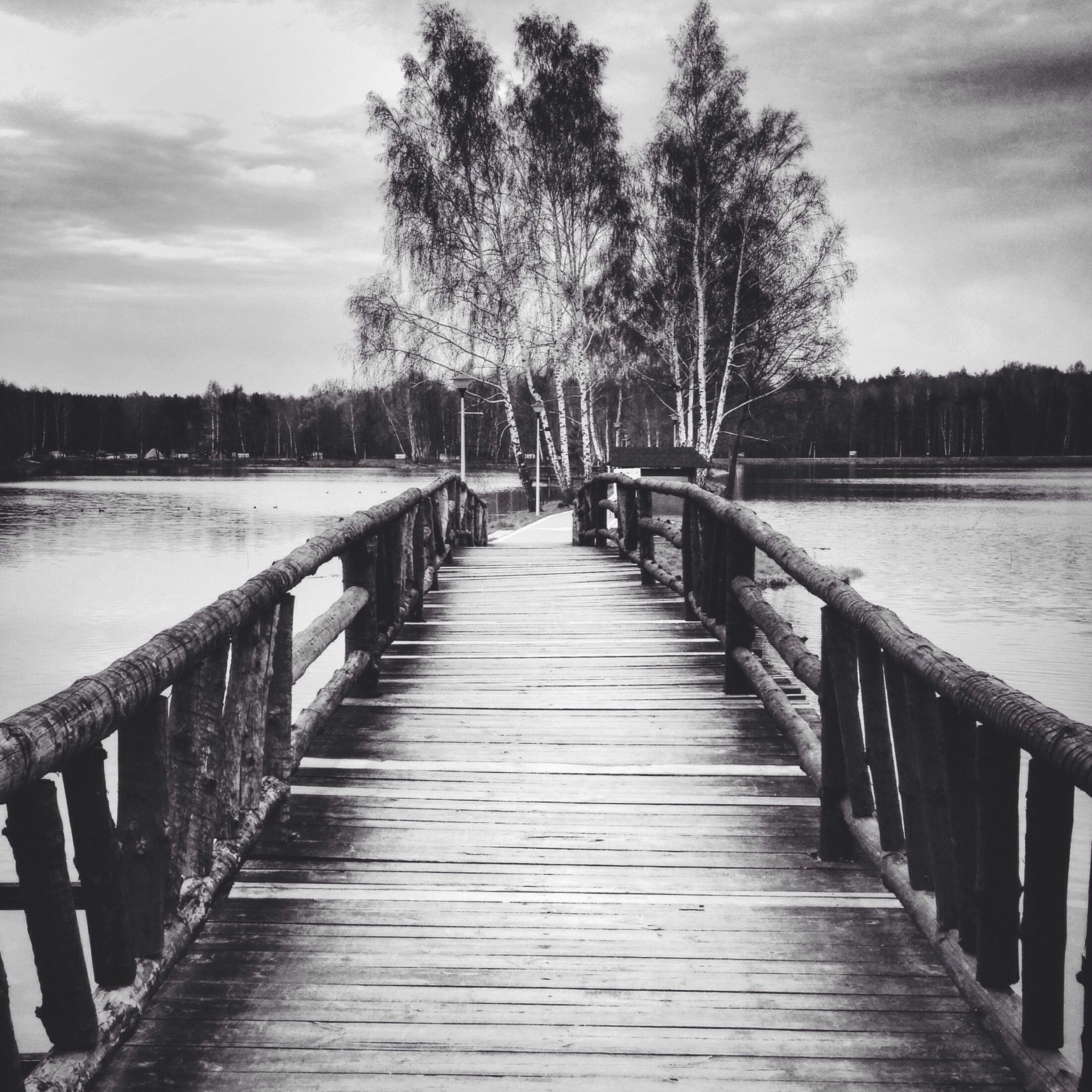 water, built structure, the way forward, railing, architecture, pier, sky, diminishing perspective, river, bridge - man made structure, tree, footbridge, connection, wood - material, tranquility, nature, vanishing point, tranquil scene, long, lake