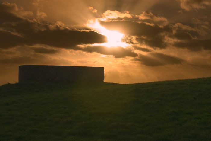 Beauty In Nature Sunset Sky Nature Sunlight Tranquil Scene Sun Scenics Outdoors Cloud - Sky Sunbeam Tranquility No People Day World War 2 PILLBOX Clevedon Somerset United Kingdom England