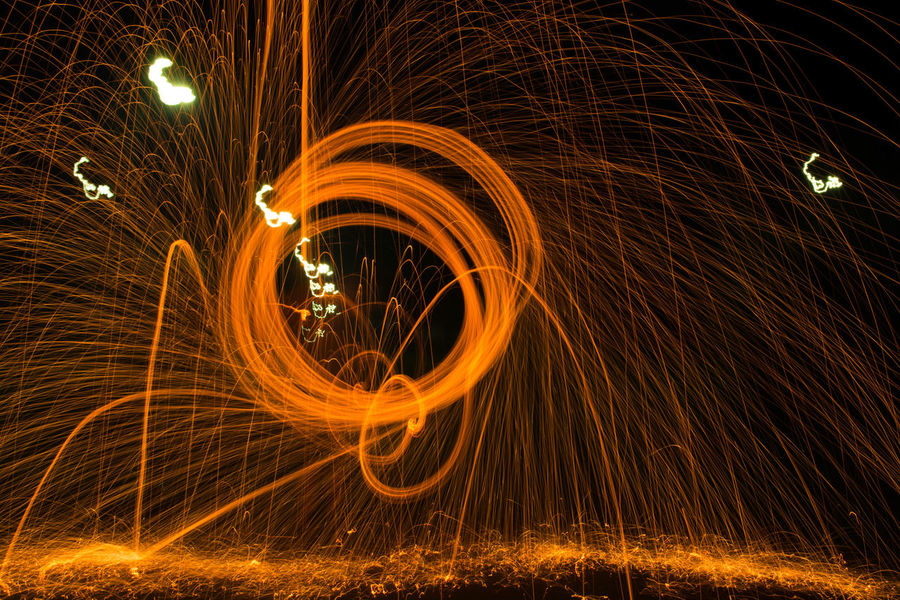 2017 Blurred Motion Celebration Heat - Temperature Illuminated Light Painting Long Exposure Motion Night Outdoors Spinning Steel Wool Wire Wool EyeEmNewHere