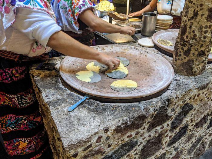 High angle view of woman preparing food