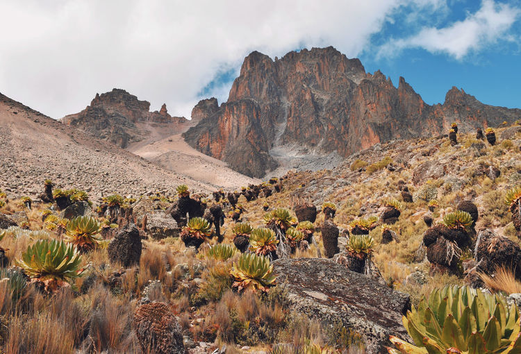 Scenic view of a mountain against sky, mount kenya national park, kenya