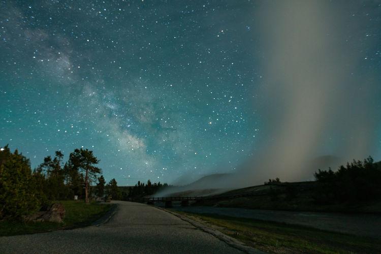 Stars over midway geyser basin yellowstone