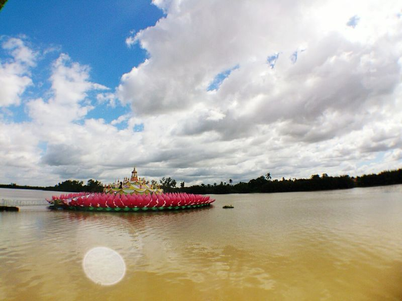 Asian Culture Thailand Loy Krathong Clouds And Sky River