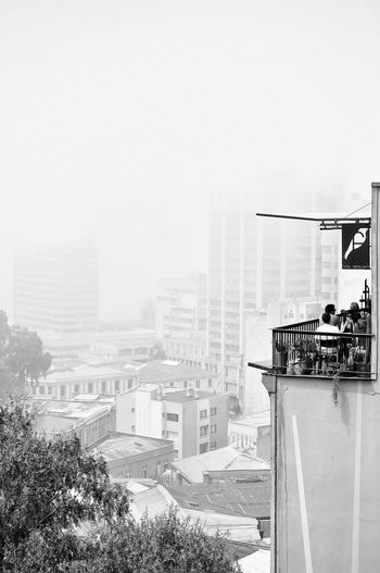 """""""Leap into Nothingness"""" (Neruda) // Valparaiso (Chile) // Feb'17 Building Exterior Architecture Built Structure City Clear Sky Cityscape Outdoors Day No People Sky Blackandwhite Monochrome Chile Valparaiso, Chile Fade Fog Neruda Streerphotography Reportage Urban The Architect - 2017 EyeEm Awards"""