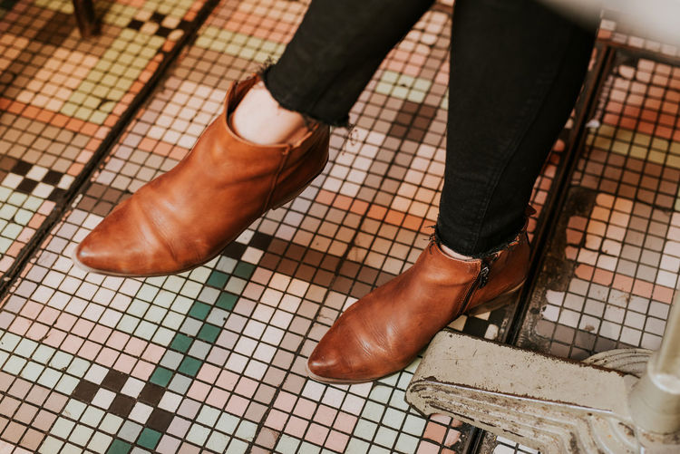 Human Body Part Low Section Human Leg Shoe Body Part One Person Human Foot Adult Standing Real People Human Limb Lifestyles Tile Fashion Limb Women Flooring Tiled Floor High Angle View Cafe Cafe Time Paris Paris, France  International Women's Day 2019