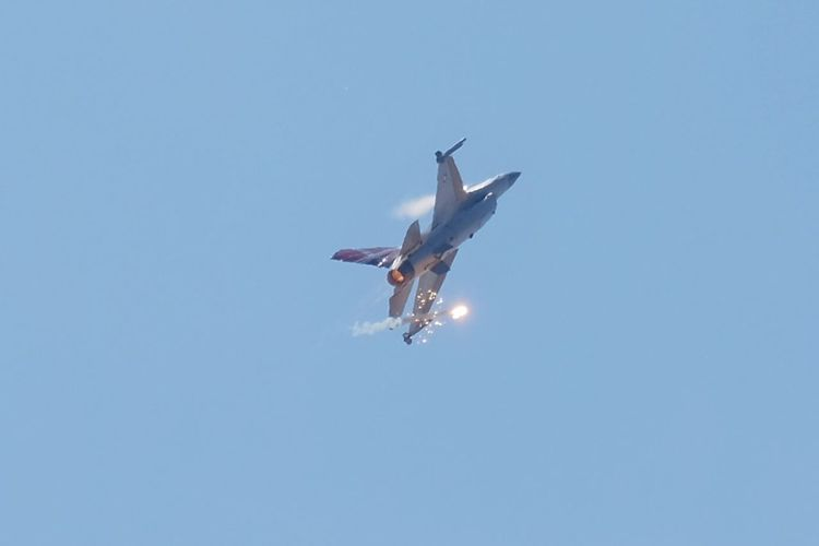 Fighter jet chuff Flying Sky Low Angle View Clear Sky Air Vehicle Blue Mode Of Transportation Fighter Plane