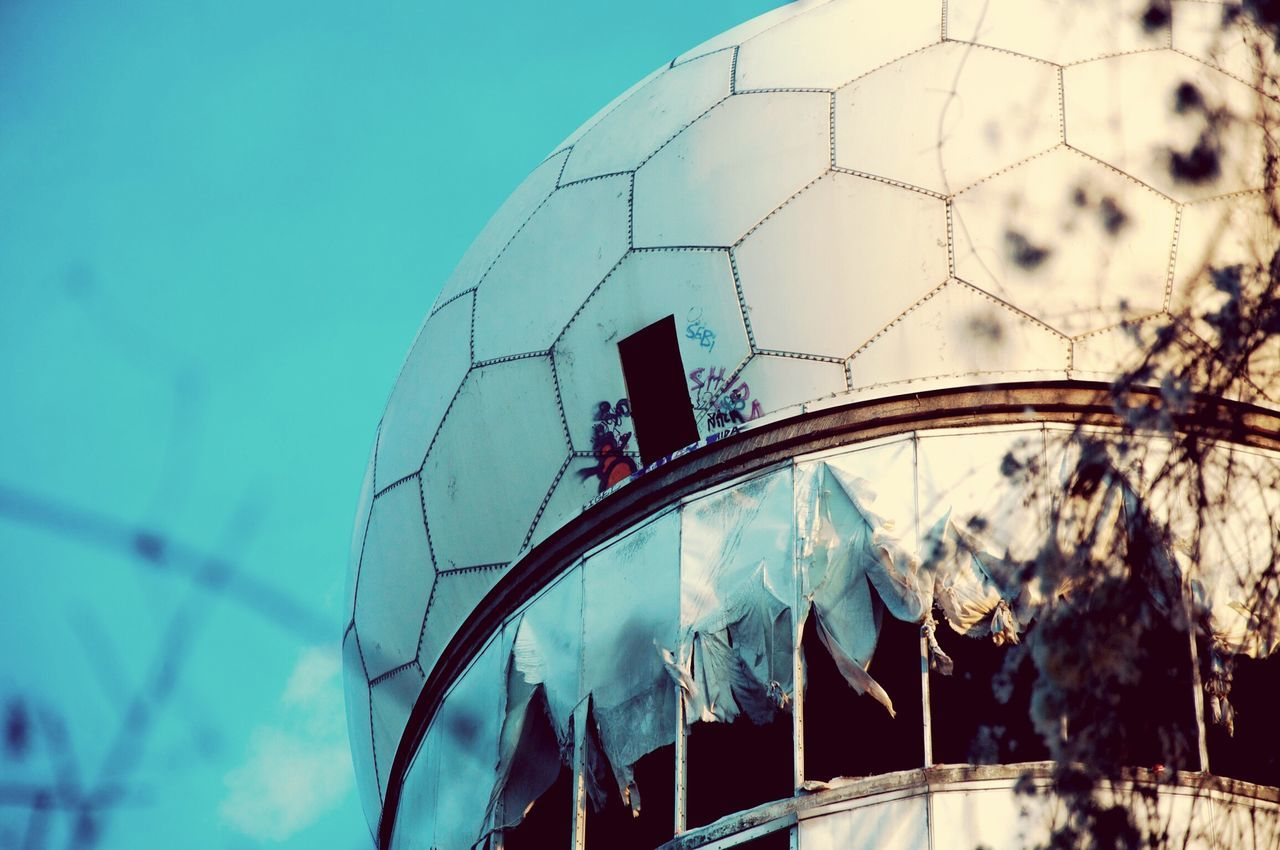 Low Angle View Of Abandoned Radar Dome