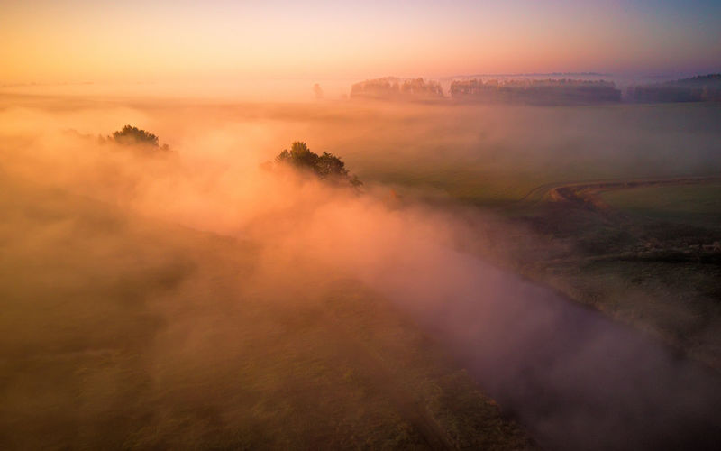 Landscape Beauty In Nature Tranquil Scene Tranquility No People Non-urban Scene Land Outdoors High Angle View Smoke - Physical Structure Nature Sky Morning Cloud - Sky Plant Fog Environment Scenics - Nature Sunset Smog Hazy  Beauty In Nature Belarus Minsk Autumn