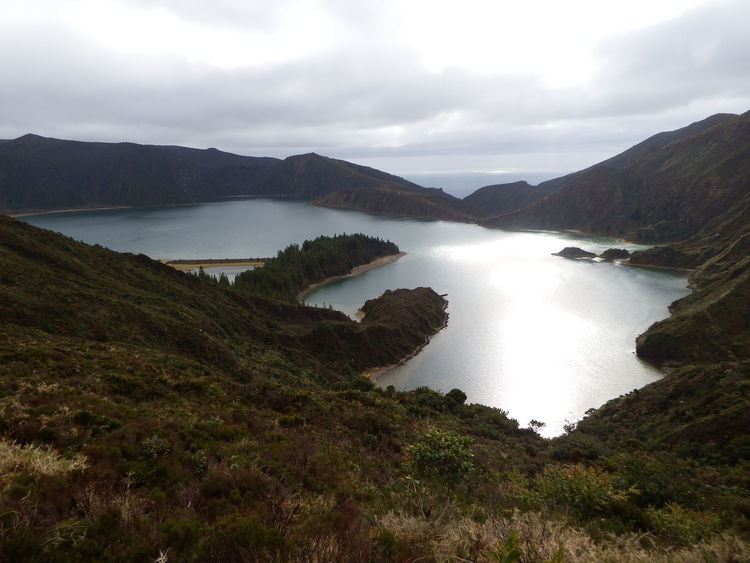Lake Water Nature Outdoors Day Sky Beauty In Nature No People Sea Açores - São Miguel Lagoa Do Fogo Vacations NoEditNoFilter Island Cloud - Sky Green Grass Blue Naturelovers Miles Away Live For The Story Been There.