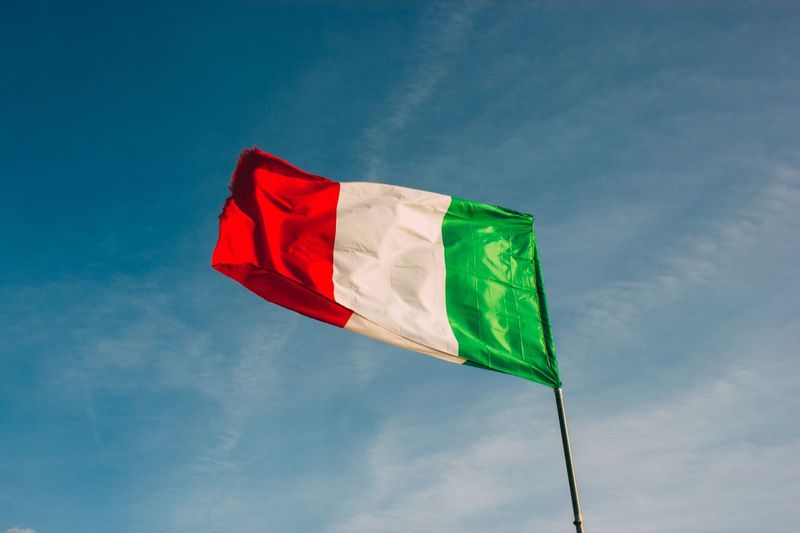 Italy Flag Sky Low Angle View Patriotism Cloud - Sky Nature Environment Red Wind No People Multi Colored Day Waving Outdoors Green Color Emotion Pride Blue National Icon