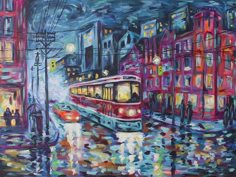 Night Lights - 30x40 inch acrylic. CaseyONeill Impressionism Torontoartist Artistlife Toronto